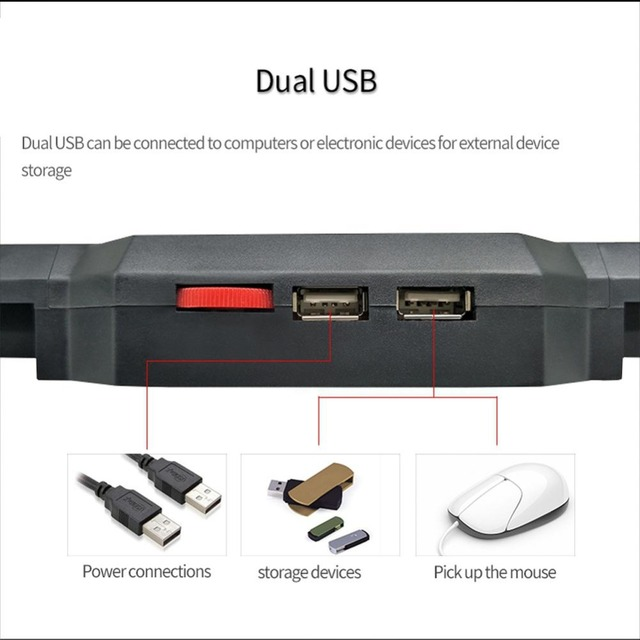 New Laptop Cooling Pad for 12-17 inch Laptop with 4 Silent Fans LED Lights Dual USB Ports r20 6