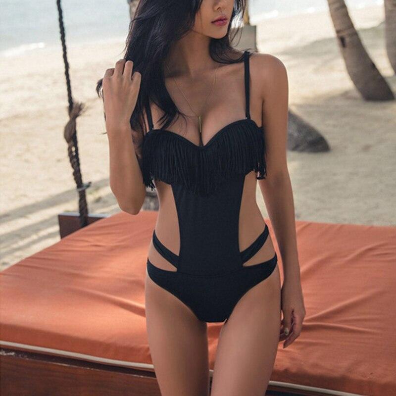 Women One Piece Swimsuit Tassels Hollow Monikini Backless Padded Beach Wear Swimwear Bathing Suit YS-BUY 5