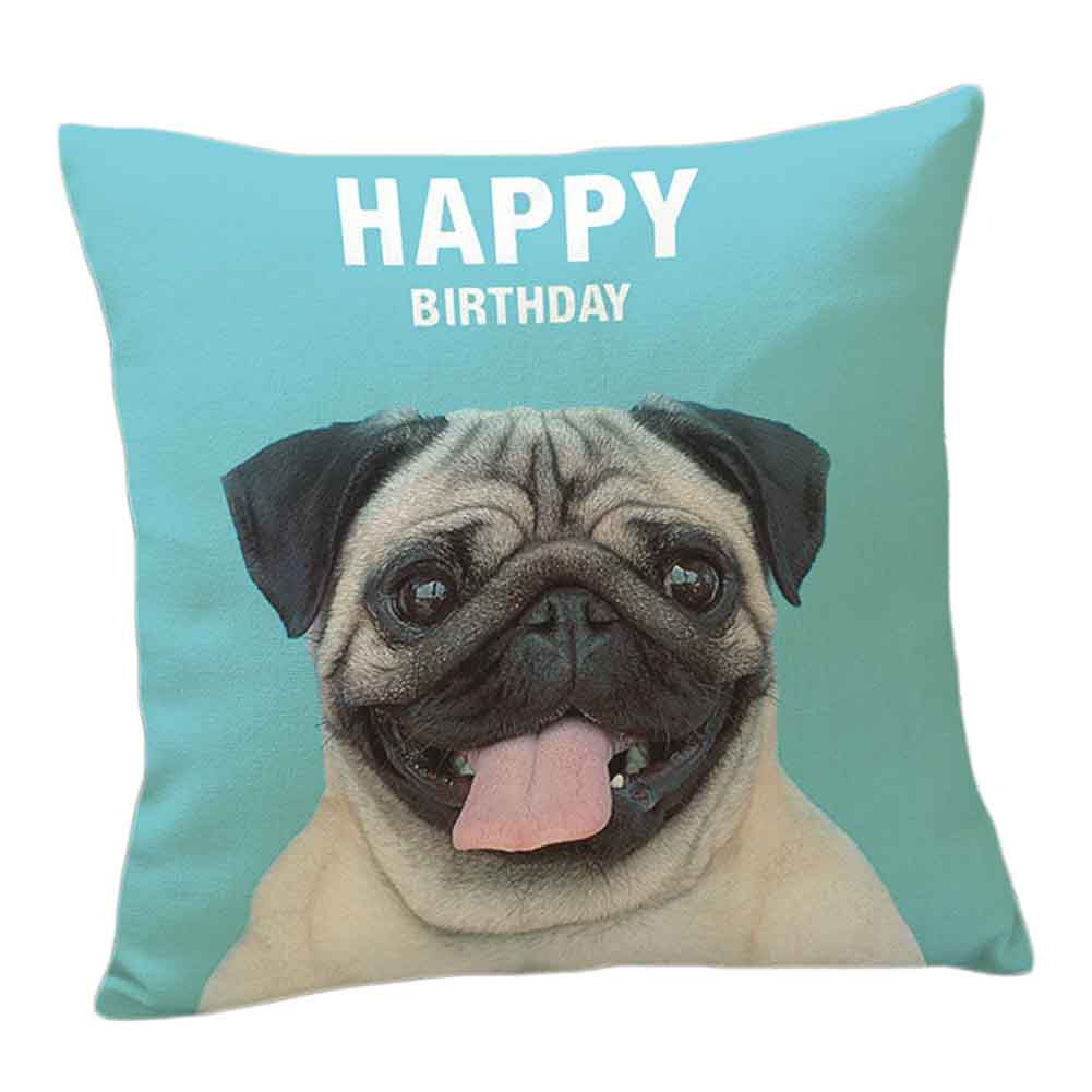 Cushion Cover French Bulldog Pug Dog Colorful Letters Pillowcase 43x43cm/17x17cm Woven Pillow Covers Polyester&Linen Home Decor
