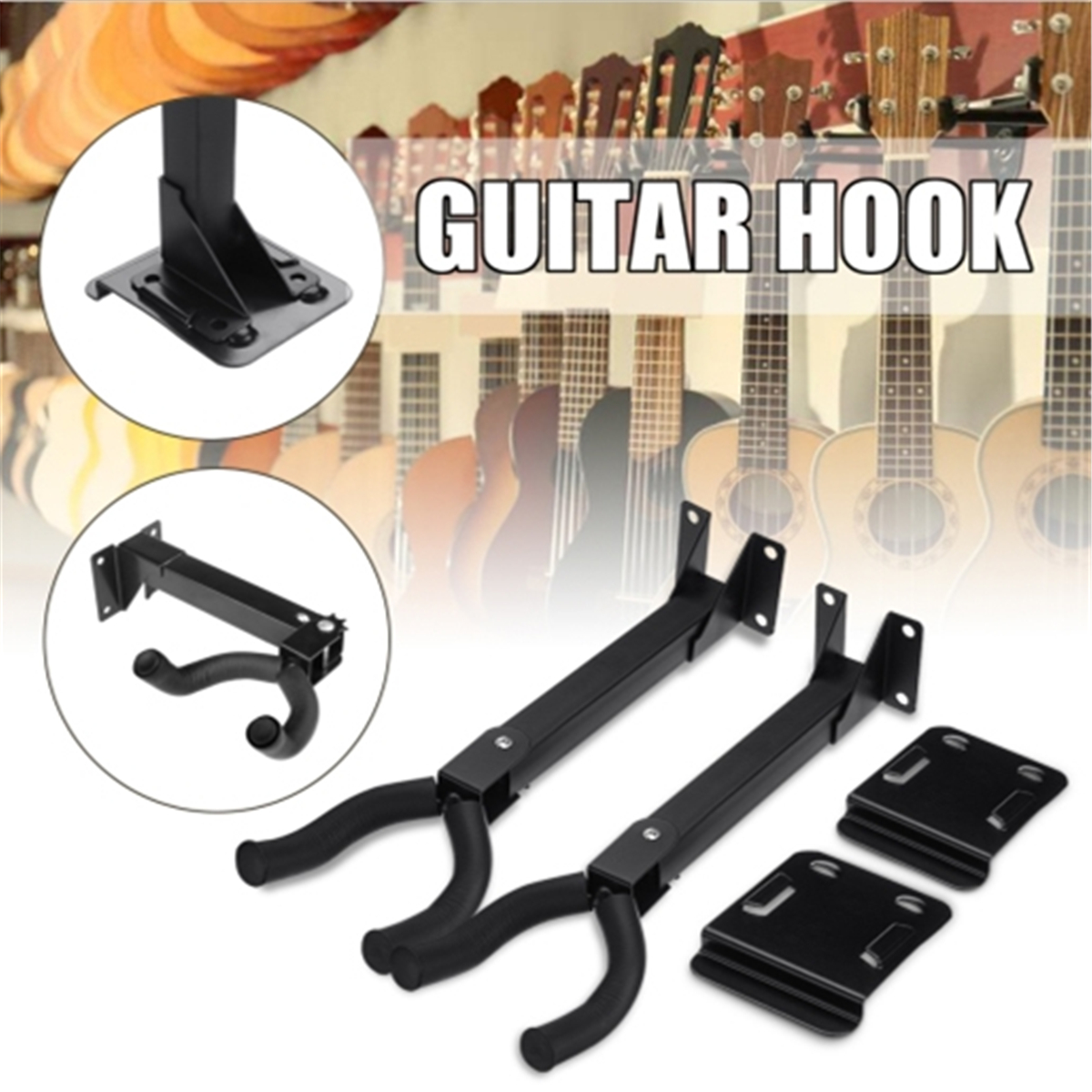 2pcs black guitar stand holder hook wall mount stand rack guitar groove hook horizontal fit most. Black Bedroom Furniture Sets. Home Design Ideas