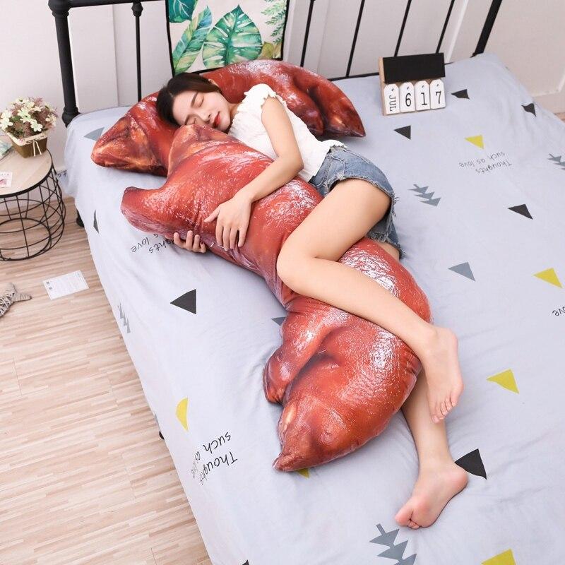 110 cm Grande Taille Jouet de porc pieds En Peluche Jouet Mignon Sleepping lit Oreiller Coussin Moelleux Tissu Doux Pour Enfants Comme un Cadeau De Noël
