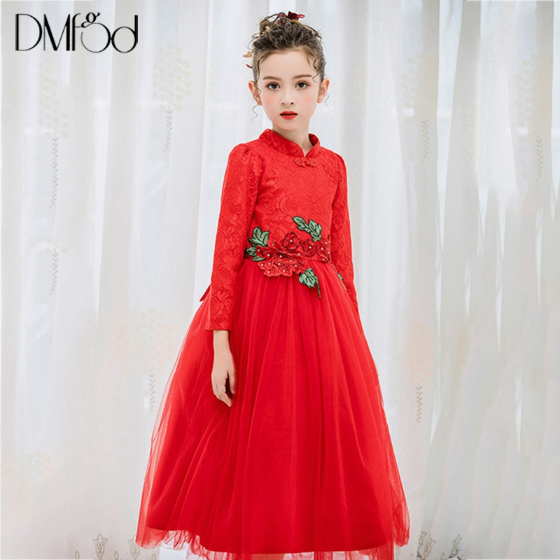 Floral Girl Dresses Long Princess 4-15 Year Girl Birthday Party Evening Formal Dress Lace Flower Teenage Little Kids Dresse 9711 long criss cross open back formal party dress