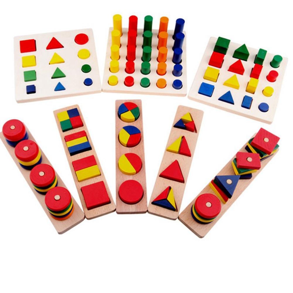 8 pièces Montessori matériaux cylindre éducatif jouet bloc bois enseignement aides géométrie forme bébé apprentissage portefeuille combinaison