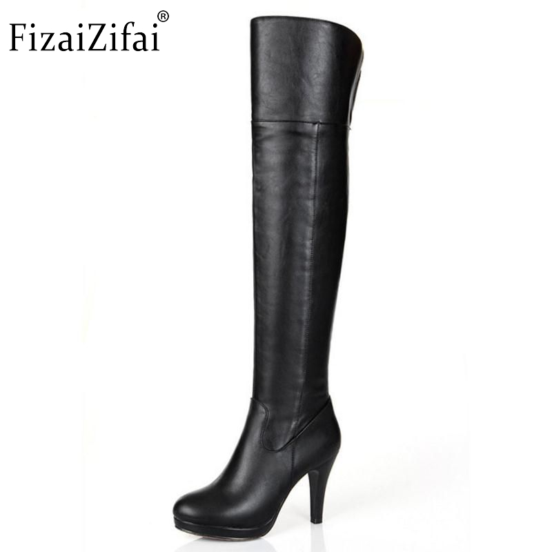 Free shipping over knee natural real genuine leather high heel boots women snow long warm shoes R5074 EUR size 34-39 free shipping over knee long high heel boots women snow fashion winter warm footwear shoes boot p15455 eur size 34 39