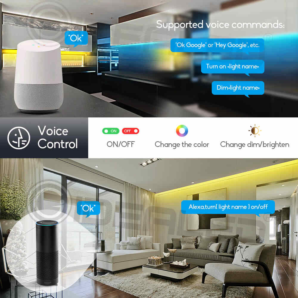 Цветной WiFi Светодиодные полосы света Умный дом беспроводной светодиодный пульт работает с Alexa, Google Assistant, Android iOS, APP