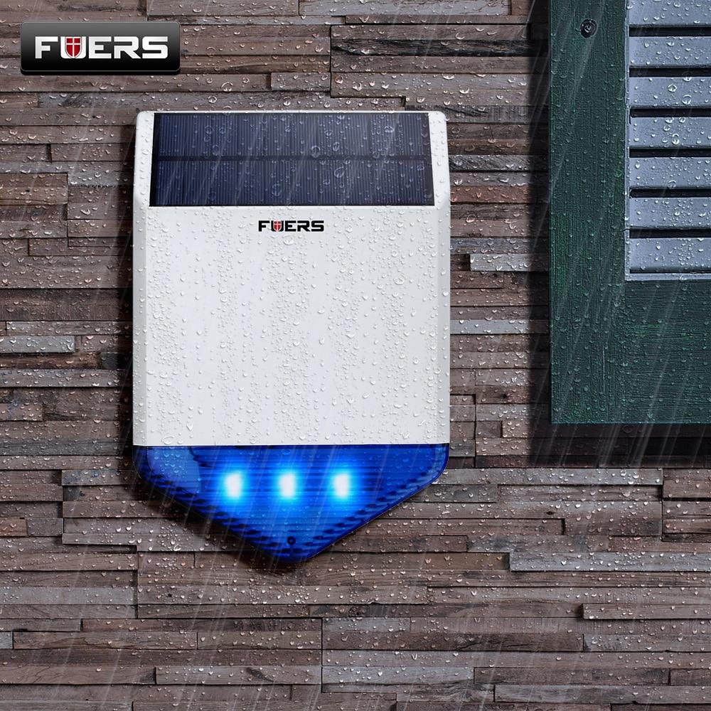 FUERS Outdoor Solar Siren Waterproof Wireless Siren With Burglar Alarm Flash Light For G18 G19 WG11