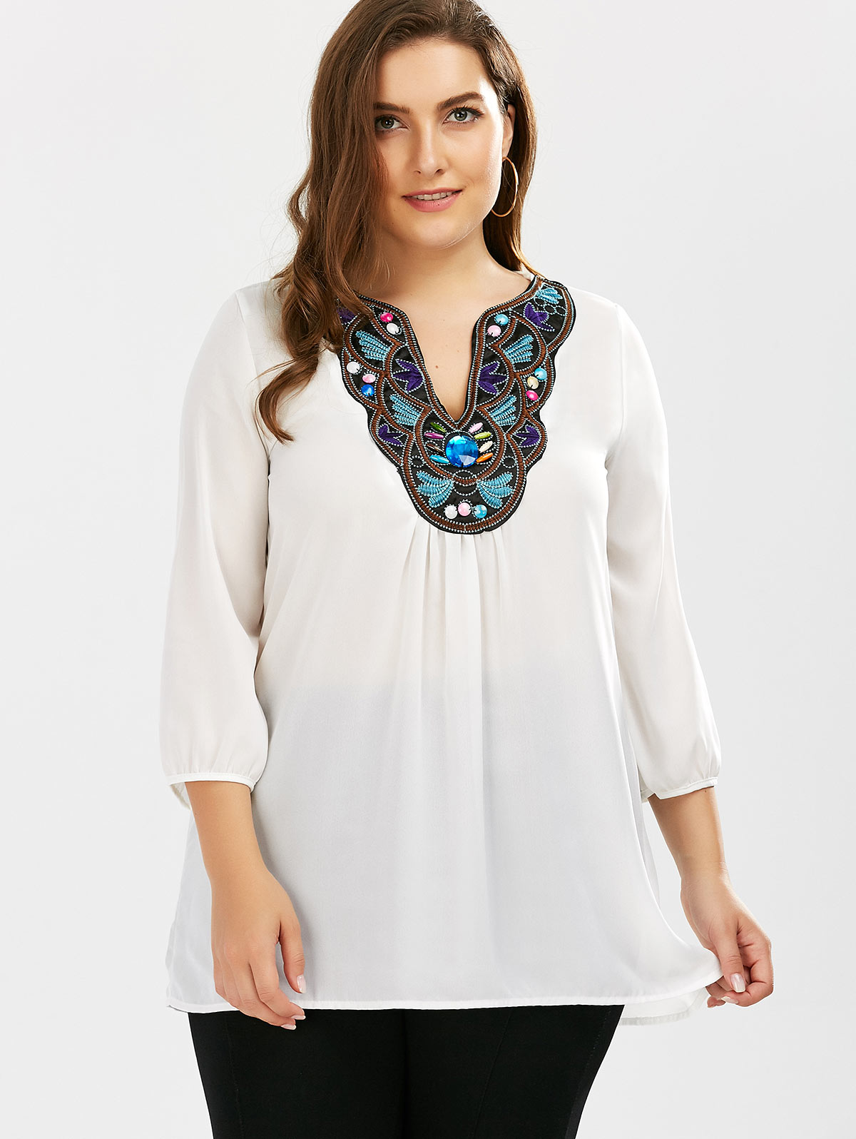 ea8bc0c7a15 ZAFUL Plus Size Embroidered Rhinestone Tunic Blouse White Color Chiffon  Summer Women Blouse Summer Feminino Blusas Casual Shirts