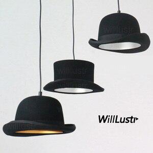 Image 1 - צמר הרגיש כובע תליון אור בעבודת יד אלומיניום השעיה מנורת ג יבס וווסטר כובע תליית תאורת מלון קוטור בד חנות
