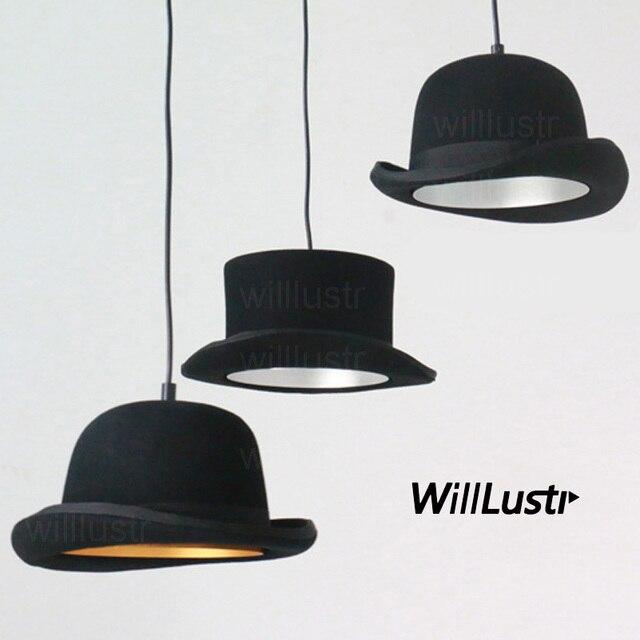 צמר הרגיש כובע תליון אור בעבודת יד אלומיניום השעיה מנורת ג יבס וווסטר כובע תליית תאורת מלון קוטור בד חנות