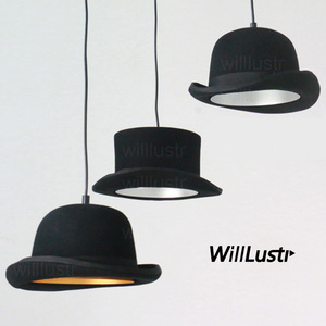 Image 1 - Wool Felt Hat Pendant Light Handmade Aluminum Suspension Lamp JEEVES AND WOOSTER Cap Hanging Lighting Hotel Couture Cloth Shop