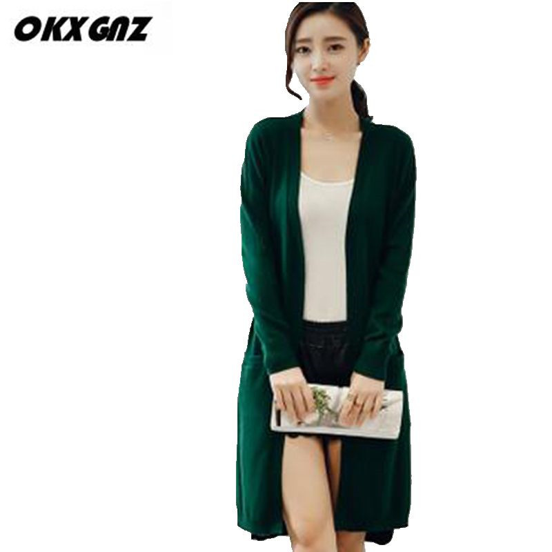 OKXGNZ Spring Women Long Cardigan Sweater 2017 new Large size knitting Outwear Casual pockets Long sleeves