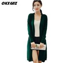 OKXGNZ Spring Women Long Cardigan Sweater 2017 new Large size knitting Outwear Casual pockets Long sleeves sweater cardigan A157