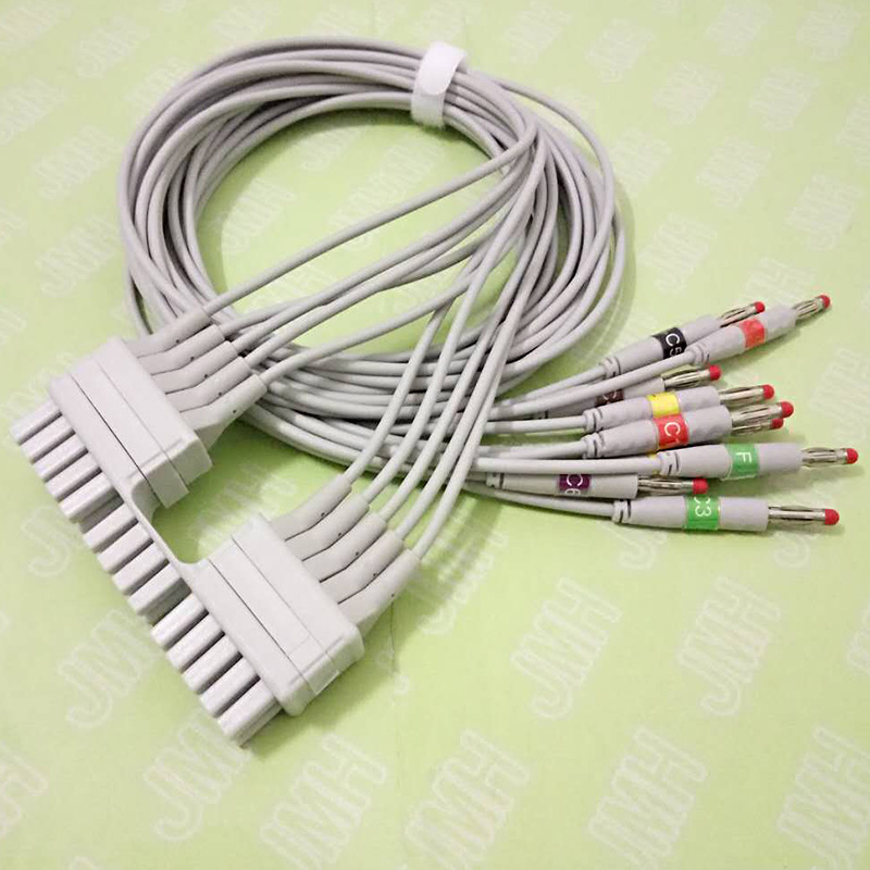 лучшая цена Compatible with Mortara 250C Holter ECG adapter Cable 10 leads IEC Banana 4.0mm leadwire