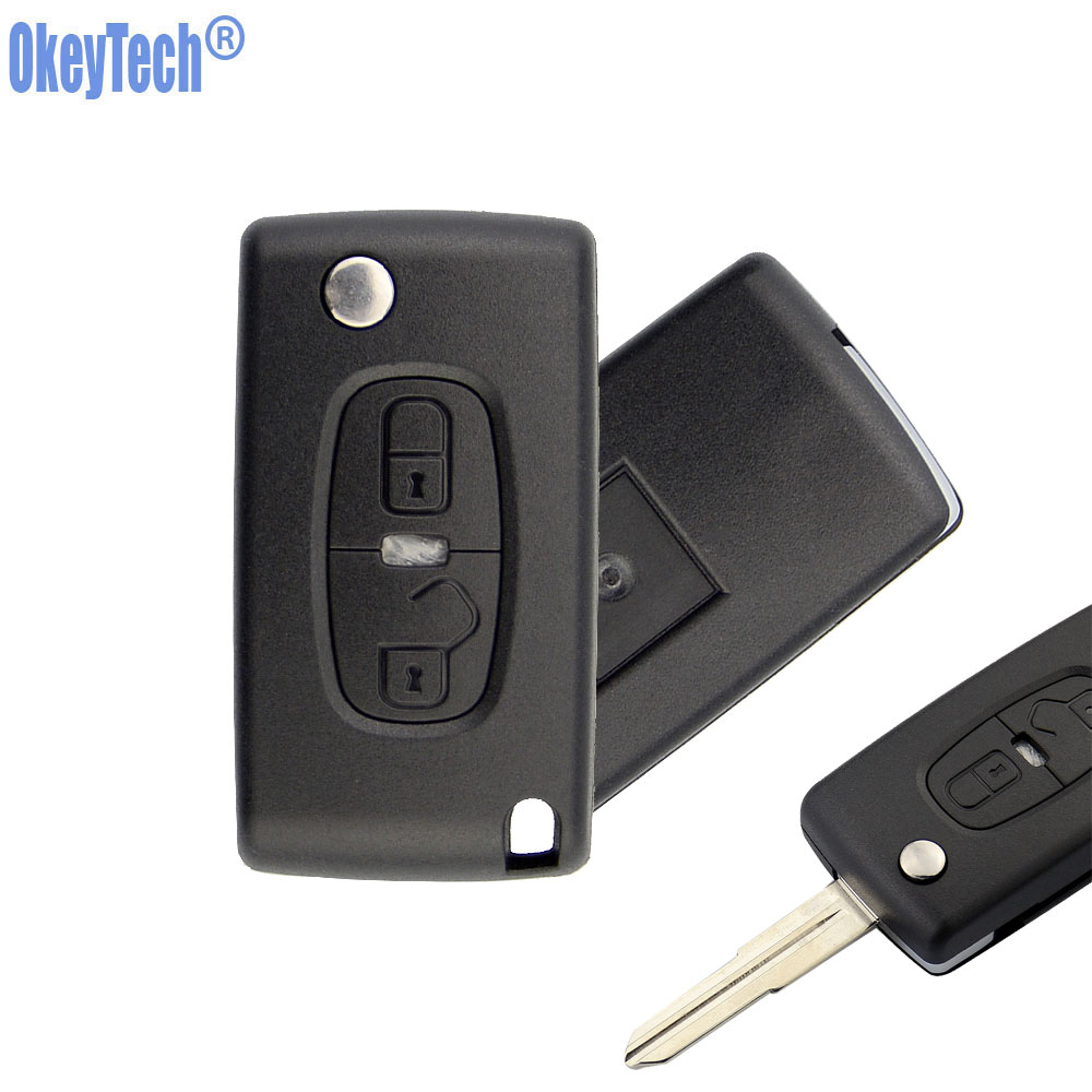 OkeyTech Replacement 2 Buttons Flip key Car Key Shell for Peugeot 4008 3008 407 307 Case Fob for Citroen Switchblade Folding key