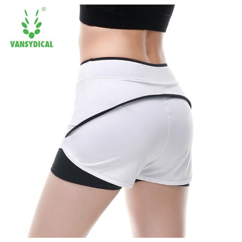 Vansydical Women Sport Shorts 2 In 1 running shorts Athletic Cool Ladies Sports yoga Shorts Fitness Clothes Jogging