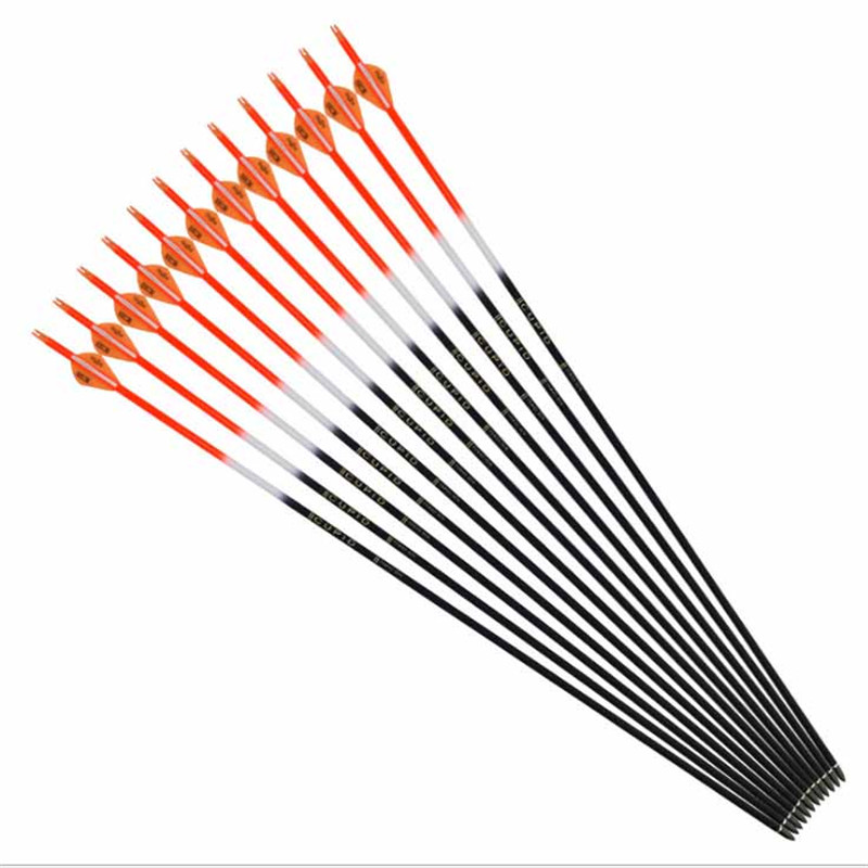6/12 / 24pcs Hybrid Carbon Arrow 32 Inch Spine 600 Outer Diameter 7.6 Mm Inner Diameter 6.2 Mm For Compound Bow Archery Hunting