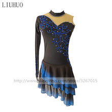 Figure Skating Dress Women's Girls' Ice Skating Dress Black collar single-sleeved long-sleeved design Gradient color skirt(China)