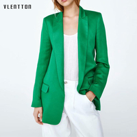 2019 New Green Women's Jacket And Blazers Solid Shawl Collar Pockets Suit Coat Female Long Sleeve Office Blazer Women Outerwear