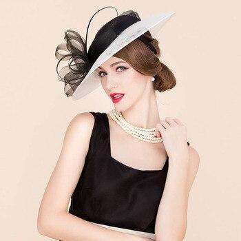 aca2e0816cc 2019 Новая Элегантная женская шляпа свадебные белый черный цветок широкими  полями тканевое белье церкви для женщин
