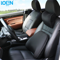 1Set Car Travel Rest Cushion Set Memory Foam Neck Rest Pillow Seat Lumbar Waist Support Cushion Breathable For Universal Cars