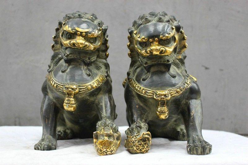 Populaire chinois Culture bronze statue Fu Chien Lion Boule Paire Statue SculpturePopulaire chinois Culture bronze statue Fu Chien Lion Boule Paire Statue Sculpture
