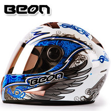 Free shipping genuine BEON B-500 off-road motorcycle helmet full helmet winter sports helmets fogging / Blue / white angel