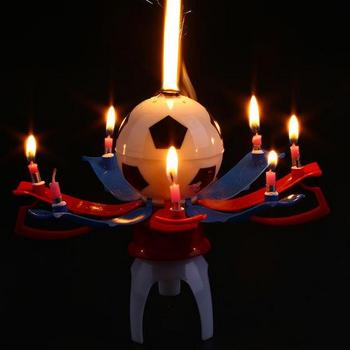 Musical Rotating Spin Football Soccer Birthday Celebration Candles Cake Topper Happy Birthday Candles with 8 Candle Lights gift