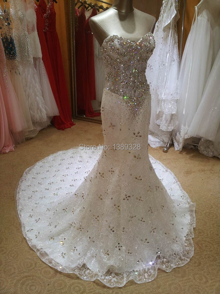 Real Photos Bling Crystal Beadeds Luxury Wedding Dress Mermaid Long Tail See Through Corset Lace Up Bridal Gown Vestido De Noiva In Dresses From