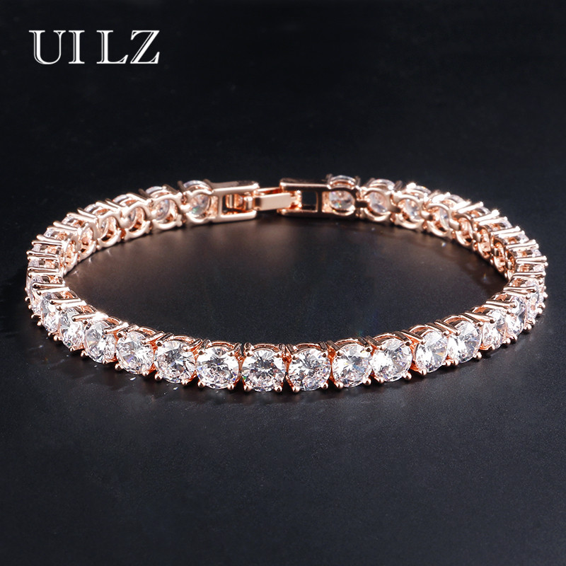 UILZ Hot Fashion Rome Charm Jewelry Round Cut AAA Cubic Zircon Tennis Bracelets For Women/Men Party Dinner Dress UB051 ...