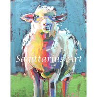 Hand Painted High Quality Artful Animals goat Wall Decoration Oil Abstract Animals Painting Canvas Living Room Fine Art Artwork