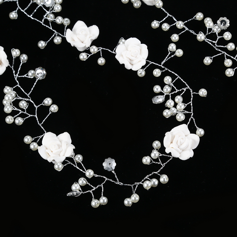 HTB16dZYhStYBeNjSspkq6zU8VXar Bridal Handmade Hair Flower Vine Accessory