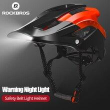 Rockbros farol de bicicleta moldado integralmente, farol de capacete de ciclismo com luz de segurança para homens e mulheres, equipamento para capacete de bicicleta mtb