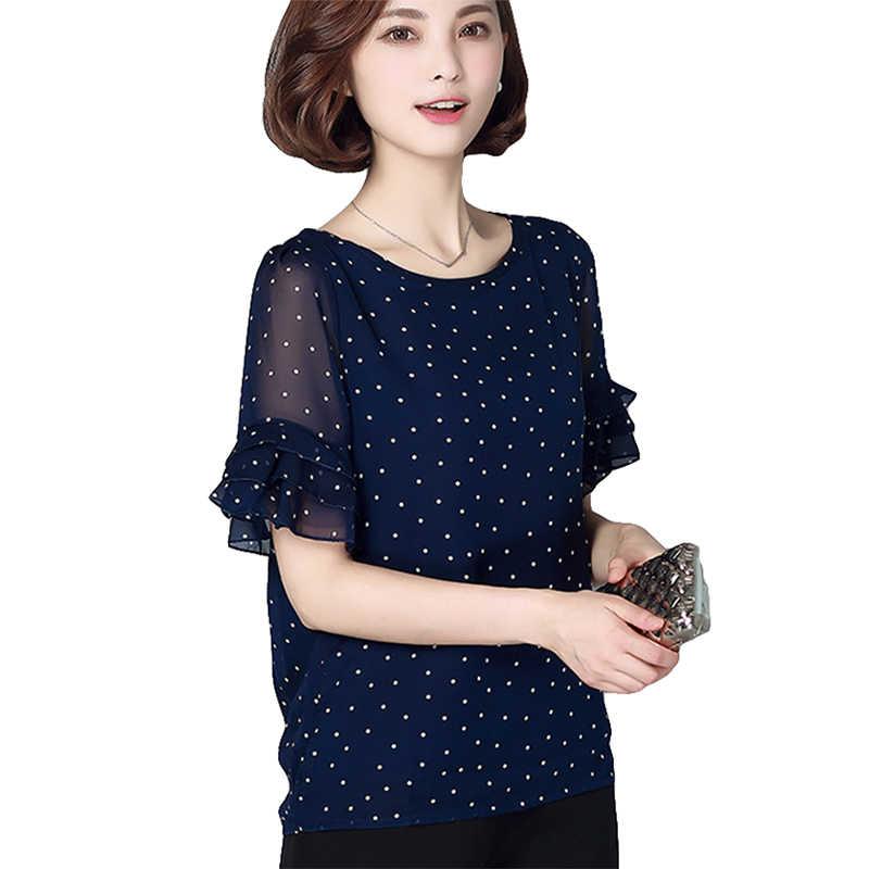Женские шифоновые топы и блузки рубашки с коротким рукавом и оборками Синие Новые модные повседневные стильные блузки рубашки женские новые большие размеры