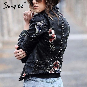 Simplee Embroidery floral faux leather jacket White basic jackets outerwear coats Women casual autumn winter jacket female coat 4