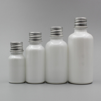 Unique Packaging Cosmetics with Different Screw Cap,30ml Empty Pearl White Glass Bottle