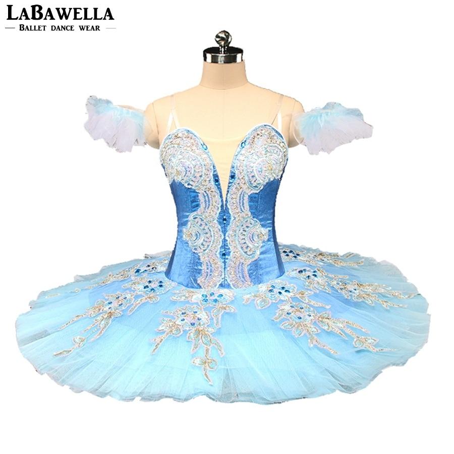 Performance Blue Bird Stage Cosutme Free Shipping Blue Fairy Professional Ballet Tutu Women Pancake Paltter BT9161