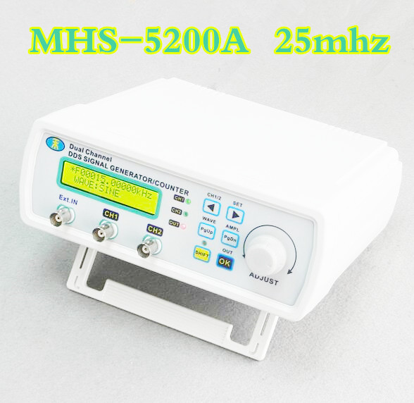 MHS-5200A Digital  DDS Dual Channel Signal Generator Arbitrary Waveform Function Generator Cymometer 25MHz for E-Lab research hantek dso4202c digital storage oscilloscope 2ch 200mhz 1 channel arbitrary function waveform generator factorydirectsales