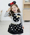 2017 kids clothes Casual toddler girl clothing set children Long sleeve cotton t shirt gray+ black dot skirt  Minnie suit DY128C