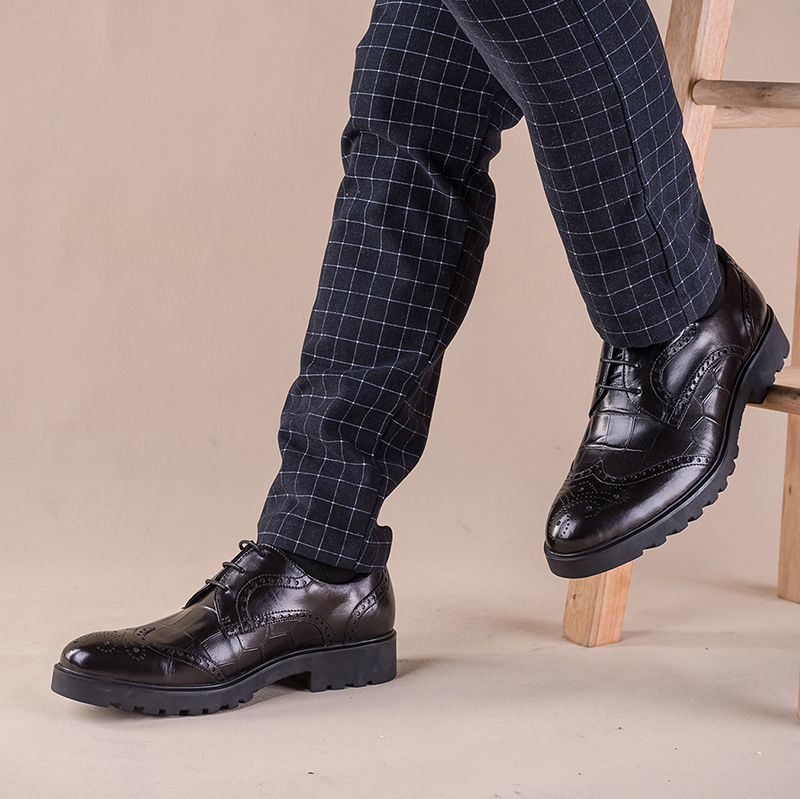 PJCMG New Men's Genuine Crocodile Pattern Leather Pointed Toe Thick soles Lace-Up Cowhide Dress Wedding Flat Oxford Men Shoes 15