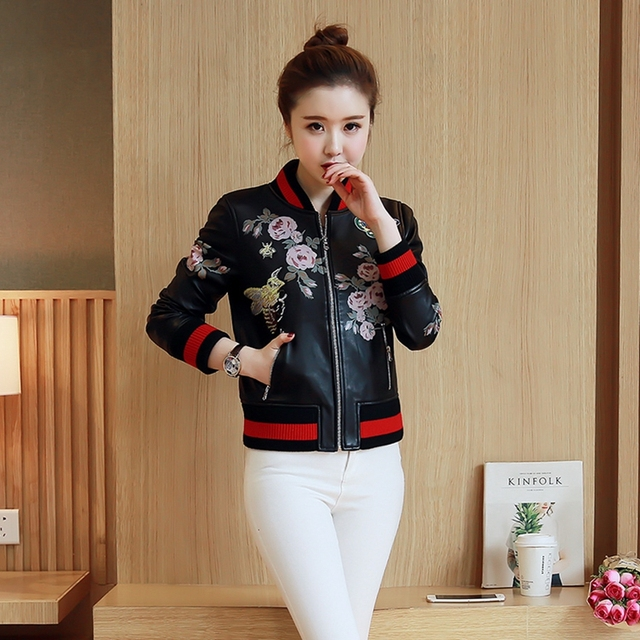 Fashion faux leather motorcycle jacket women Insects and plants pattern jackets ladies printed embroidery baseball uniform 6024