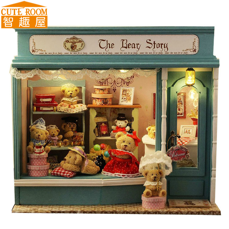 Assemble DIY Doll House Toy Wooden Miniatura Doll Houses Miniature Dollhouse toys With Furniture LED Lights Birthday Gift E003 diy wooden handcraft miniature provence dollhouse voice activated led light
