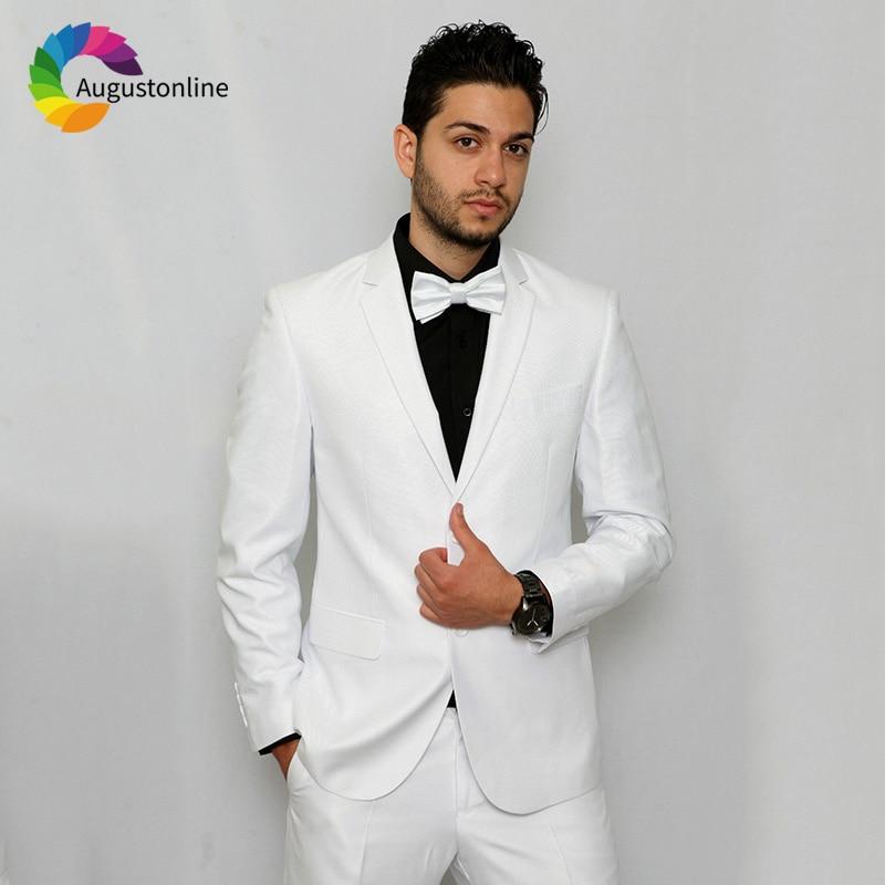 2019 Slim Fit White Notched Lapel Business Men Suits For Wedding Formal Costume Groom Prom Tuxedo Best Man Blazer Traje Hombre