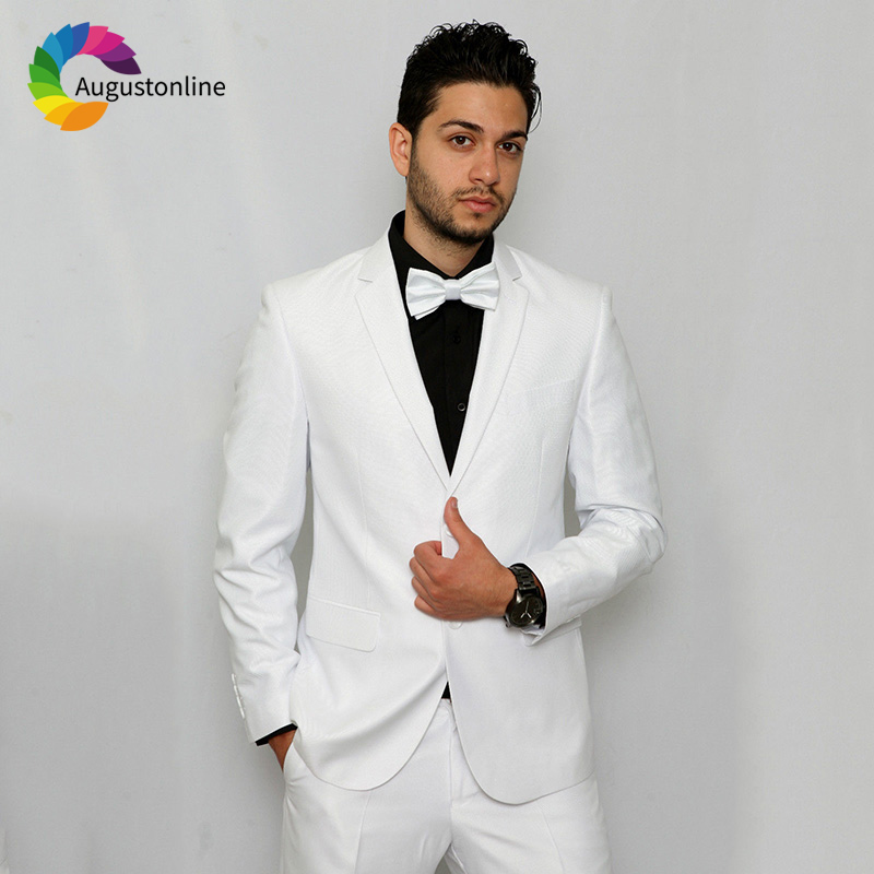 2019 Slim Fit White Notched Lapel Business Men Suits For Wedding Formal Costume Groom Prom Tuxedo Best Man Blazer Traje Hombre in Suits from Men 39 s Clothing