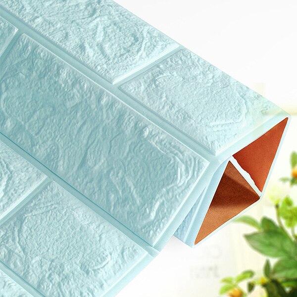 3D настенные наклейки имитация кирпича Декор для спальни водонепроницаемые самоклеящиеся обои для гостиной кухни ТВ фон Декор - Цвет: Light blue  60x60cm