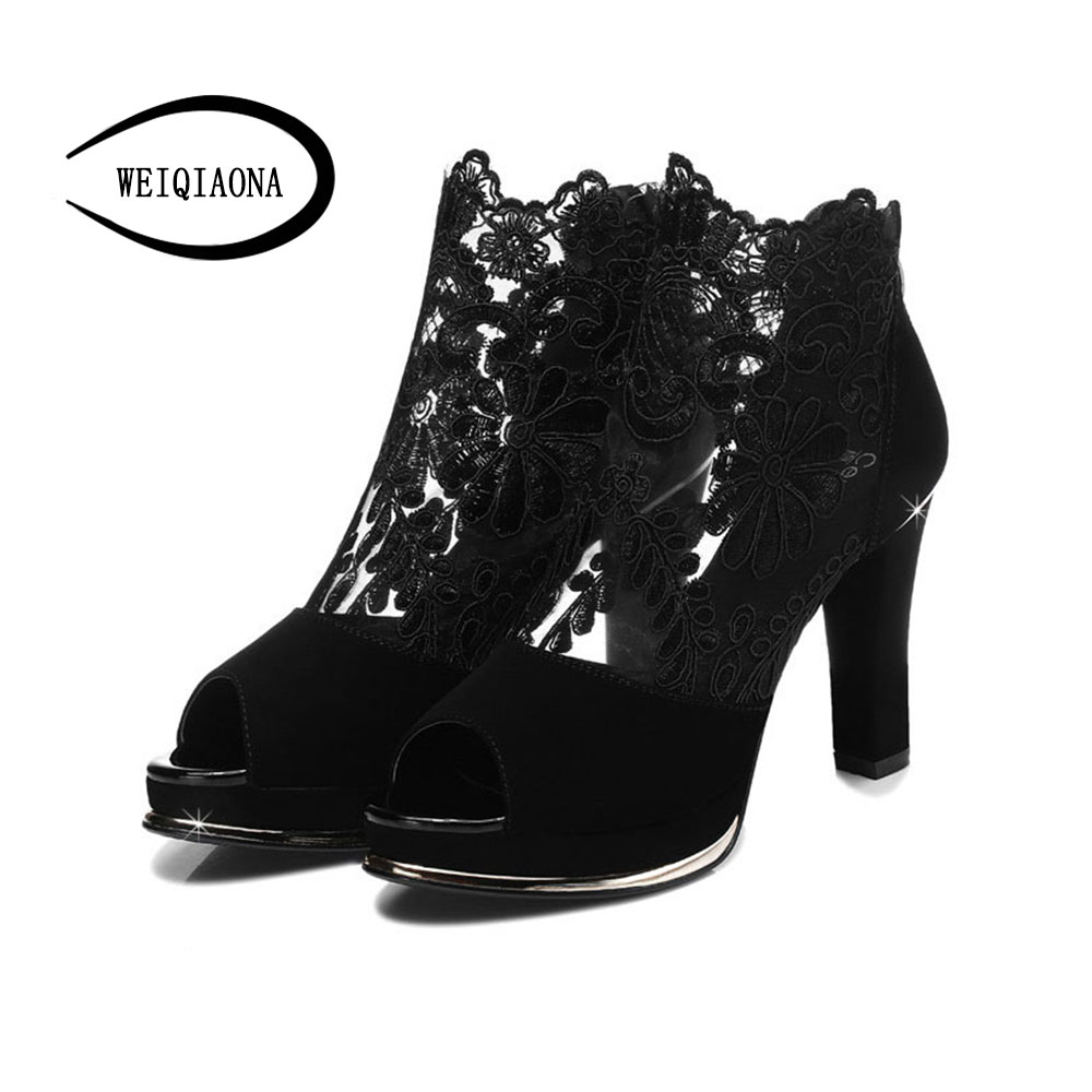 WEIQIAONA 2018 New Fashion Women shoes Sexy Embroider High Heels Leather Mesh Sandals Back Zipper Open Toe Sandals boot Party