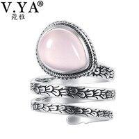 V. YA Natureza Pedra Ajustável Sólidos Anéis de Prata Para As Mulheres Real Pure 925 Sterling Silver Red Coríndon Pedra Dedo anel