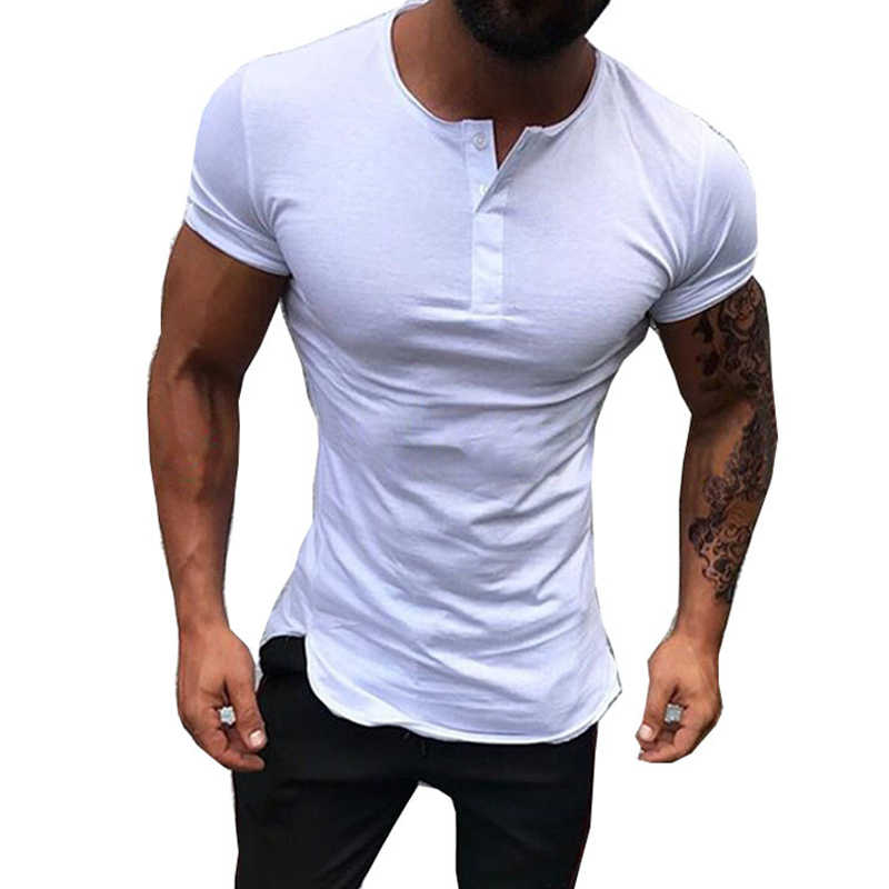 Fashion Mens Casual Knop T-Shirt Man Korte Mouwen O-hals Trui Blouse Shirt Mannen Zomer Effen Kleur Slim Fit T-shirt