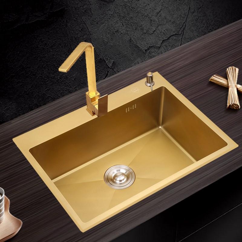 Gold Kitchen Sink 304 Stainless Steel Single Bowl Above Counter Or Udermount Sink Vegetable Washing Basin Sinks Kitchen Golden