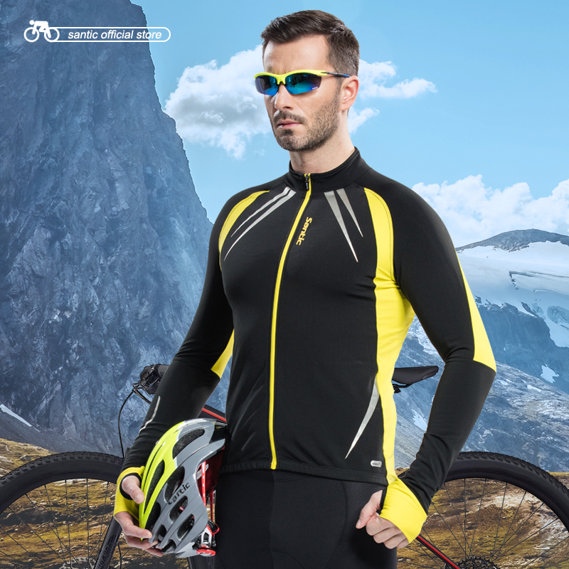 Santic Men Cycling Jacket Cycling Jersey Long Bike Winter Spring Cycling Chaquetas Cycling Male Thermal Jerseys C01023R / Y