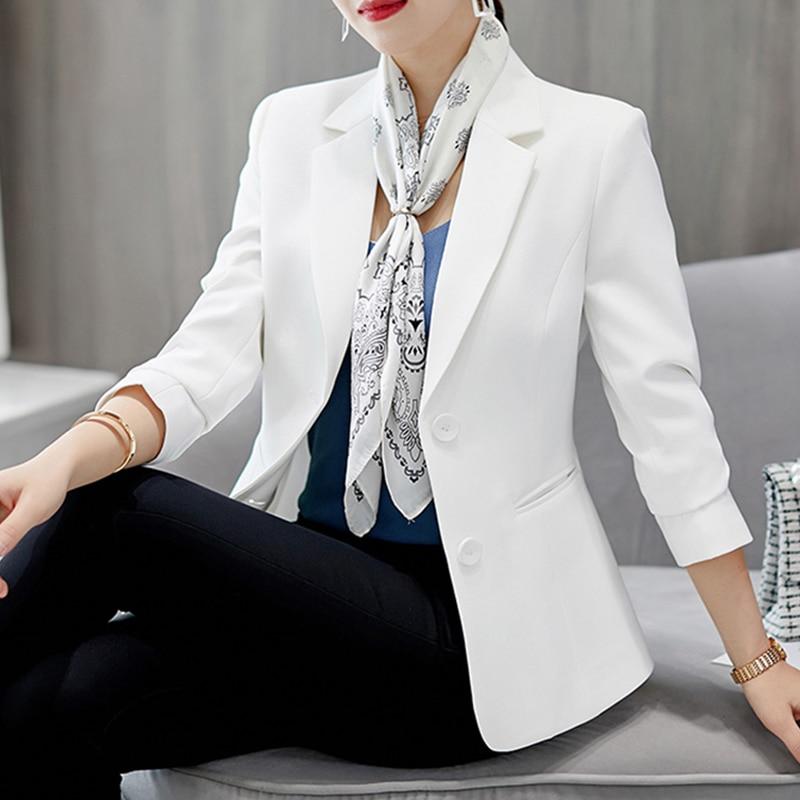 Women's Blazers And Jackets Autumn Fashion Long Sleeve Black White Blazer Feminino Plus Size Tops OL Style Coat Women Clothes